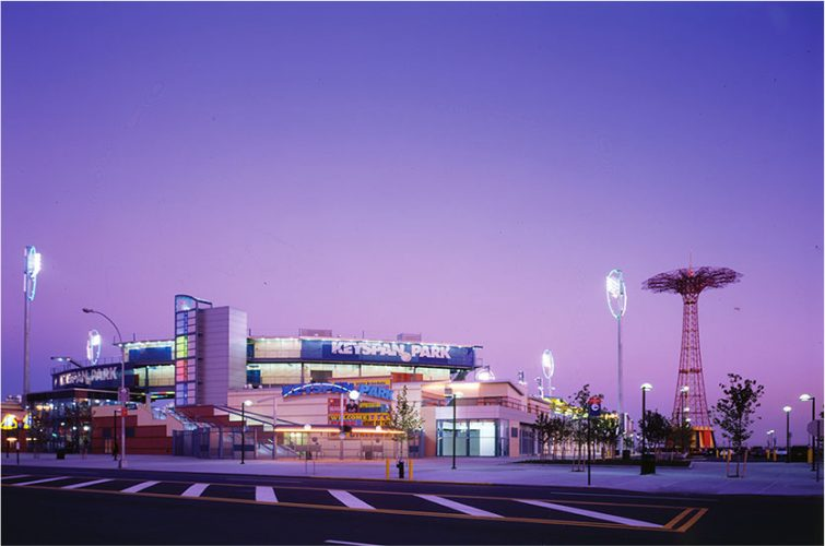 Shown: completed ballpark at night (Jack L. Gordon Architects P.C. AIA)